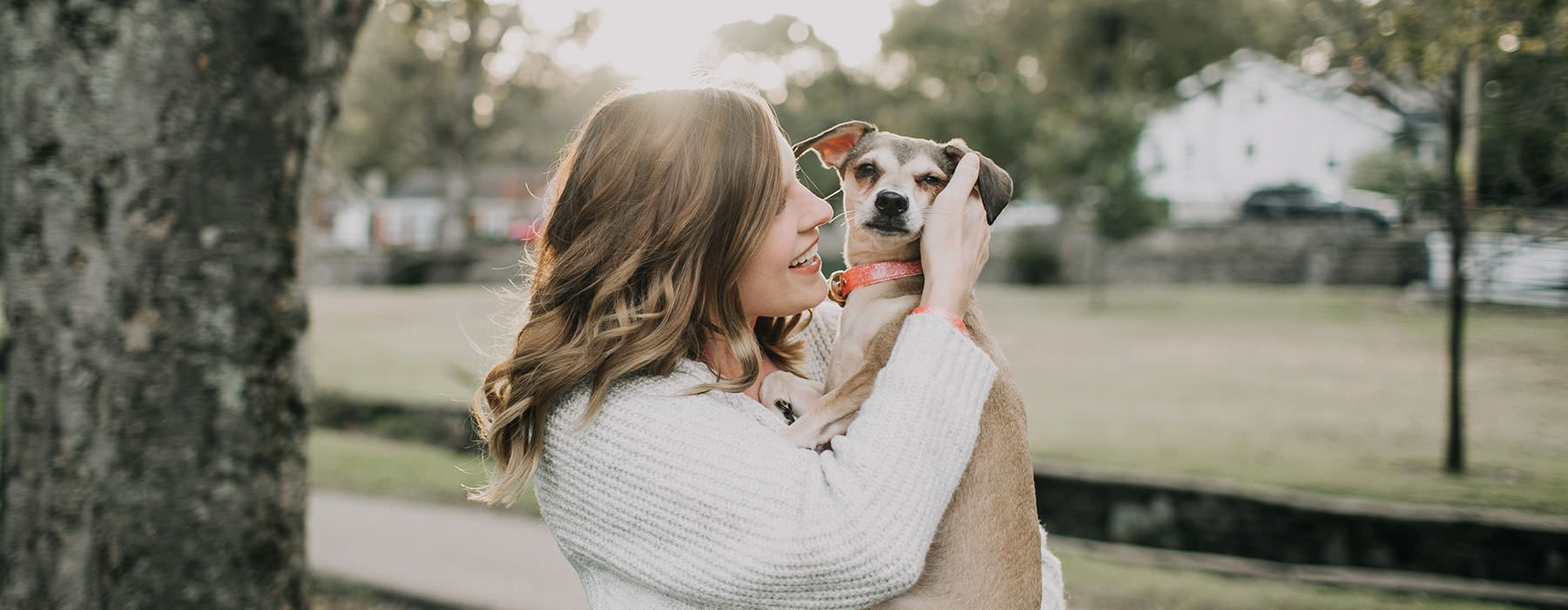 lifestyle image of a woman holding a dog